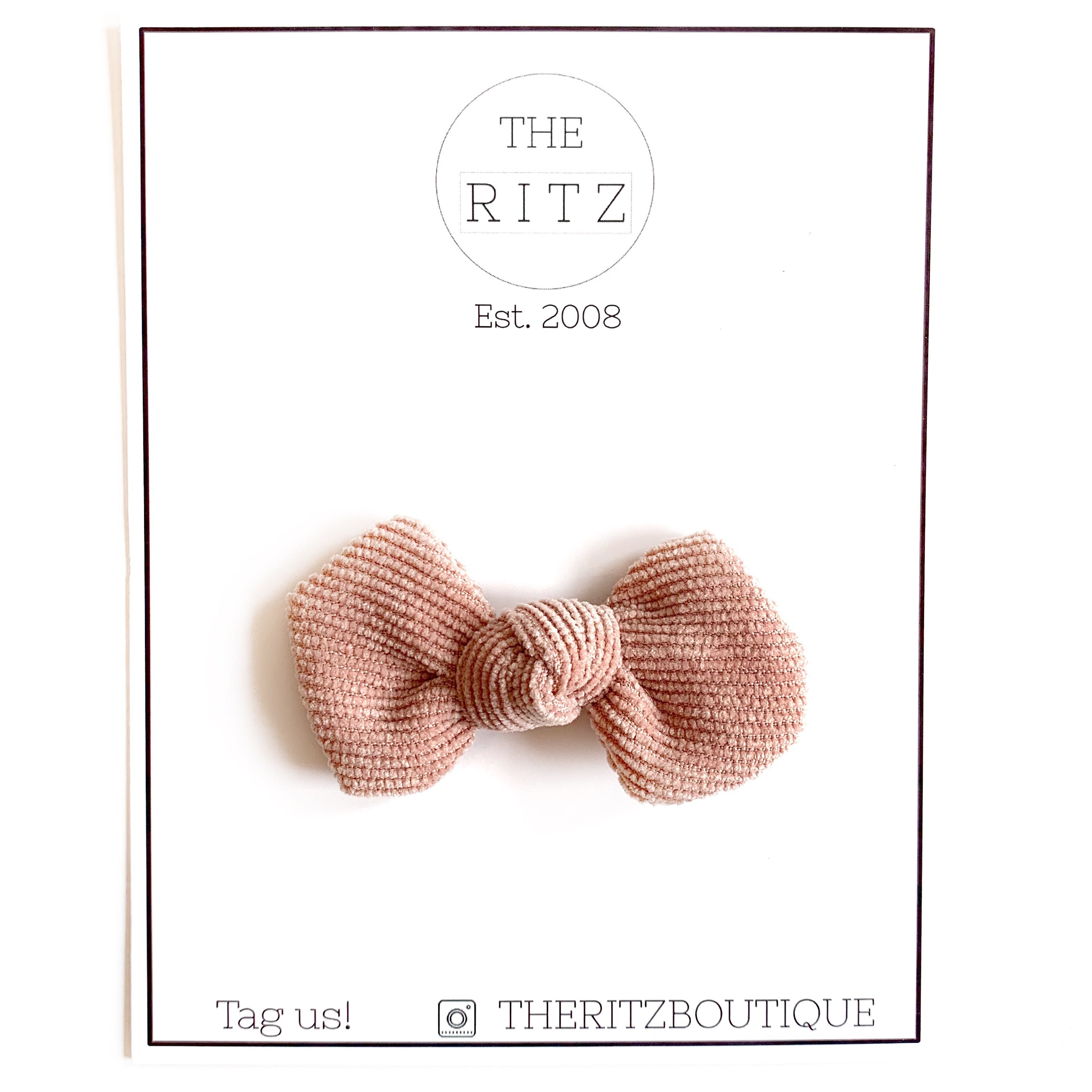 Rose Quartz Mini Pinwheel Corduroy Bow