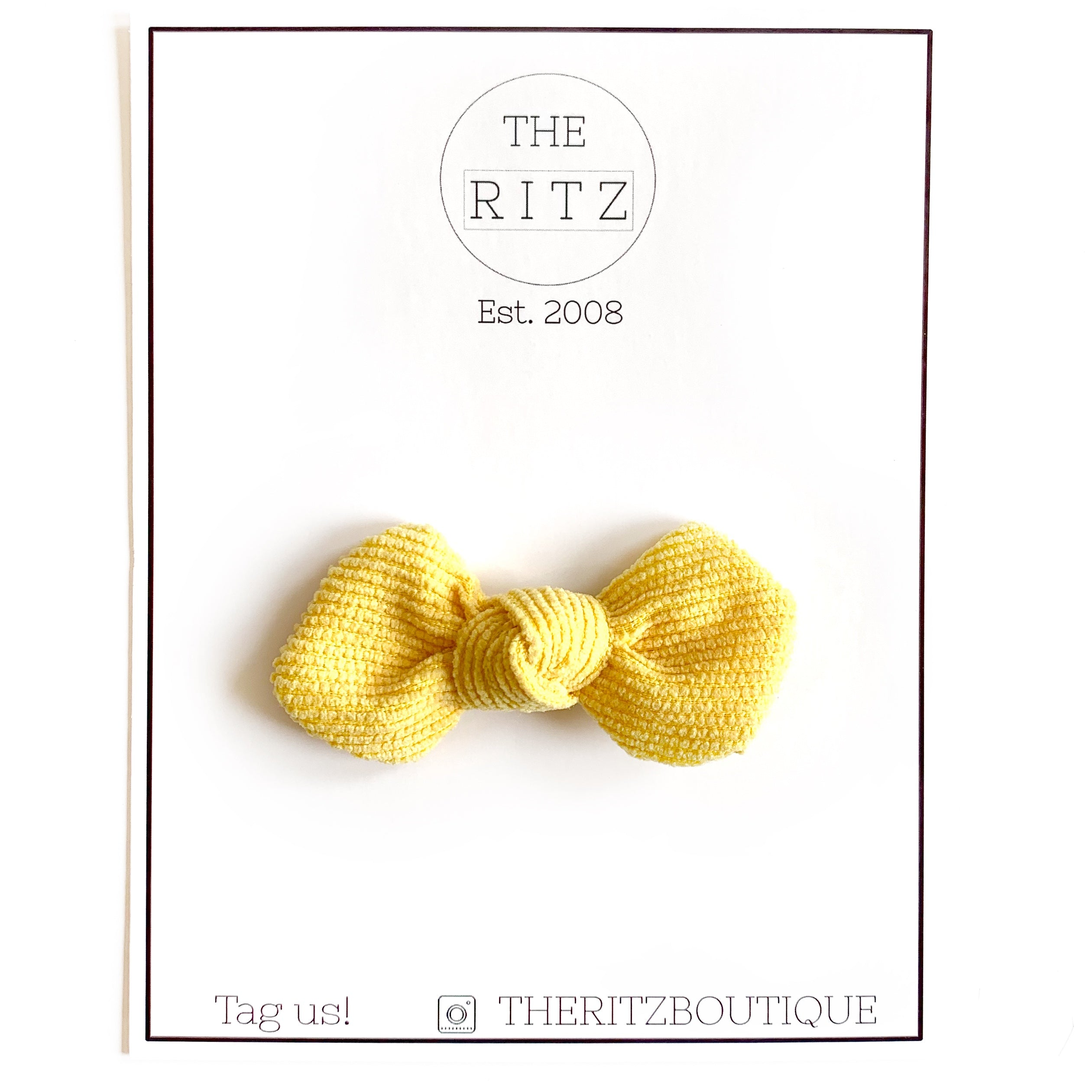 Yellow Mini Pinwheel Corduroy Bow