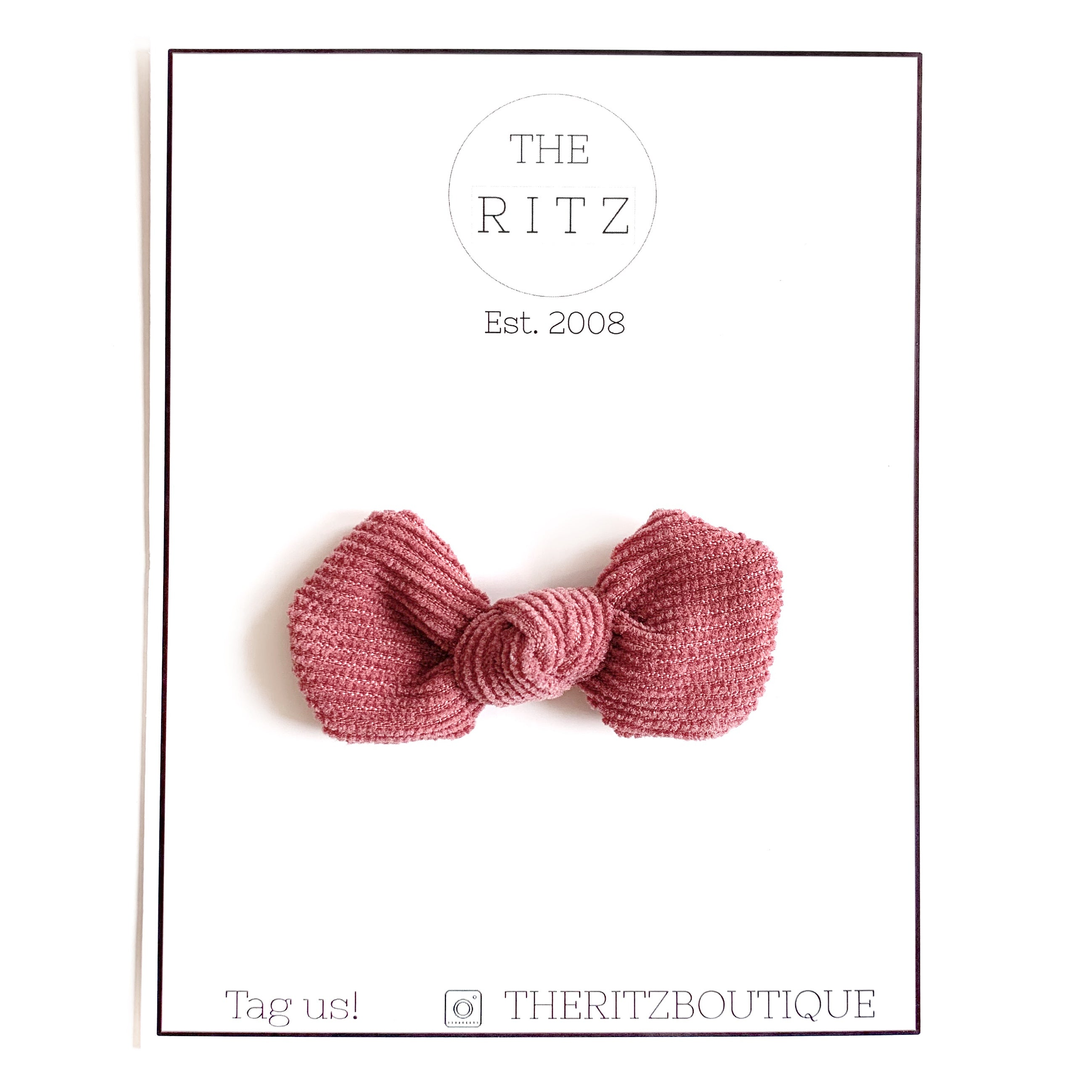 French Rose Mini Pinwheel Corduroy Bow