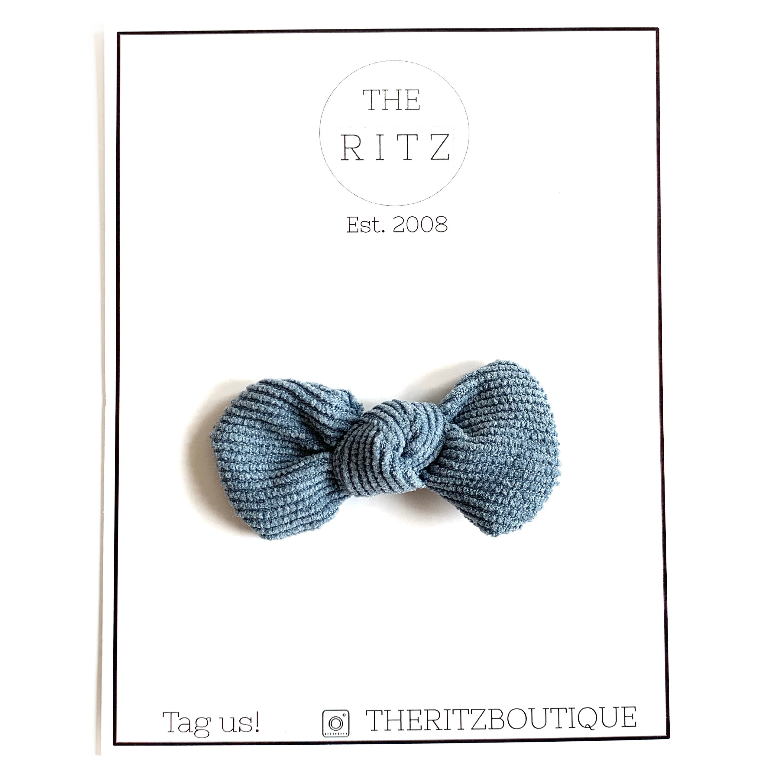 Dusty Blue Mini Pinwheel Corduroy Bow