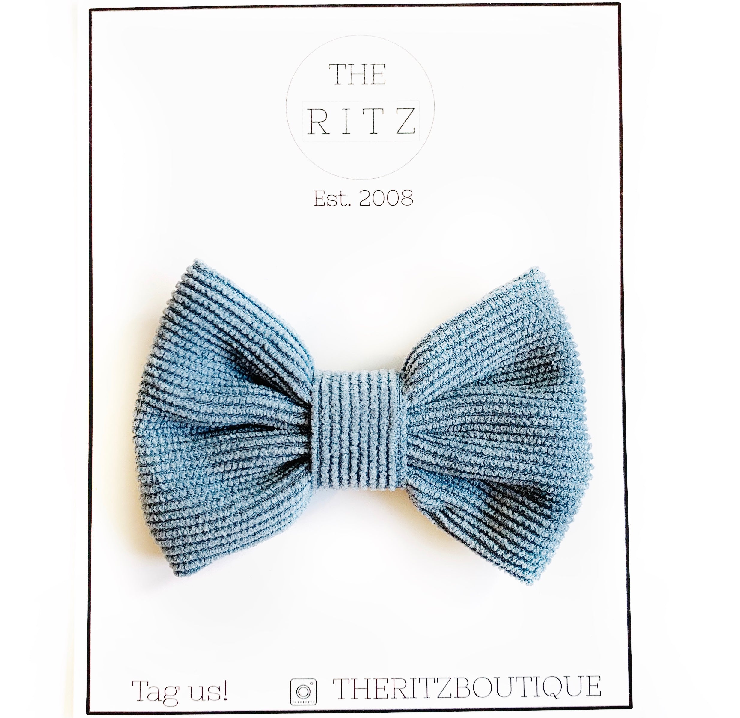 Dusty Blue Corduroy Bow-tie Midi Bow