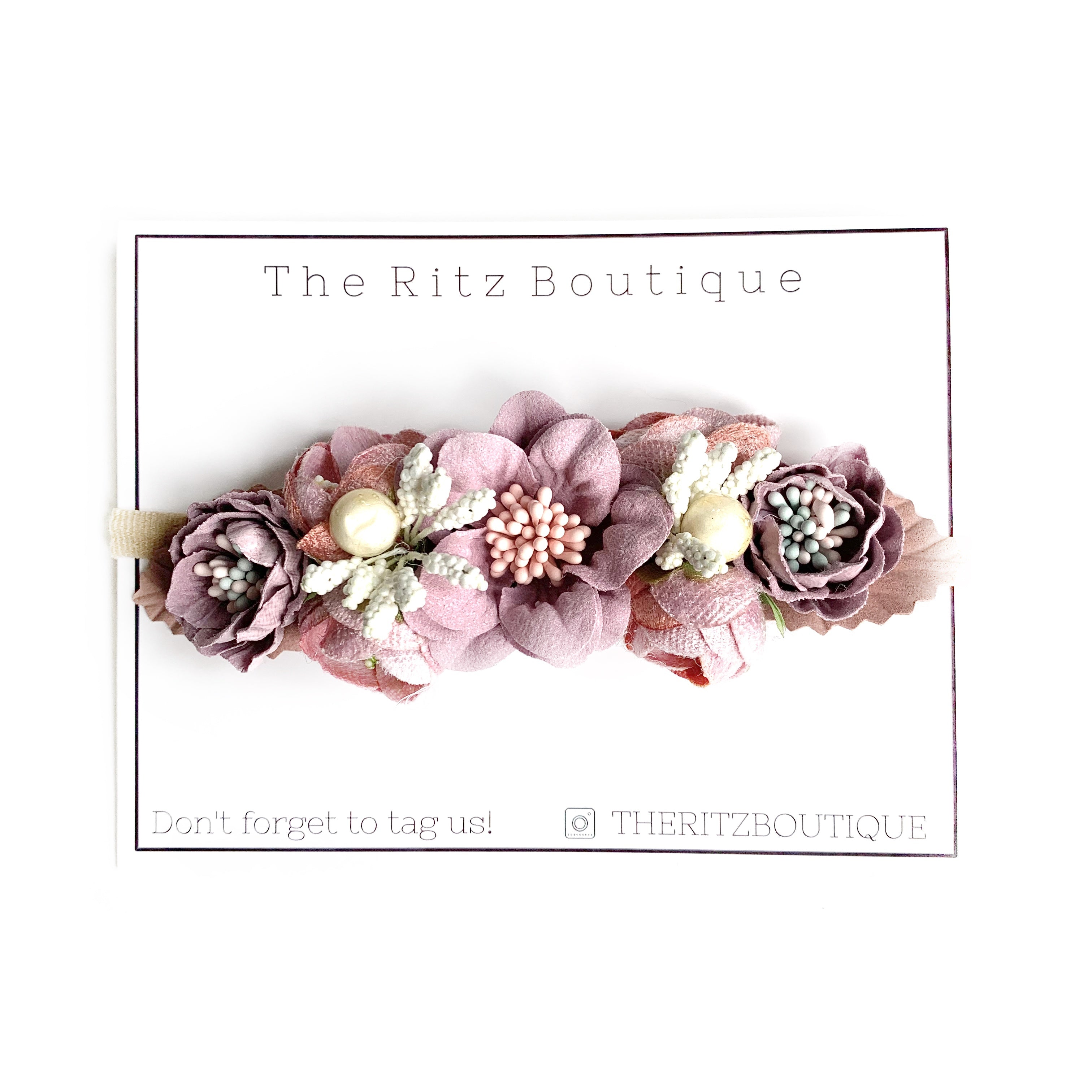 Mauve Floral Nylon Headband no.9