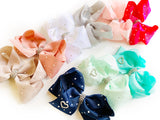 Aqua Jewel and Pearl Biggie Jersey Bow Clip