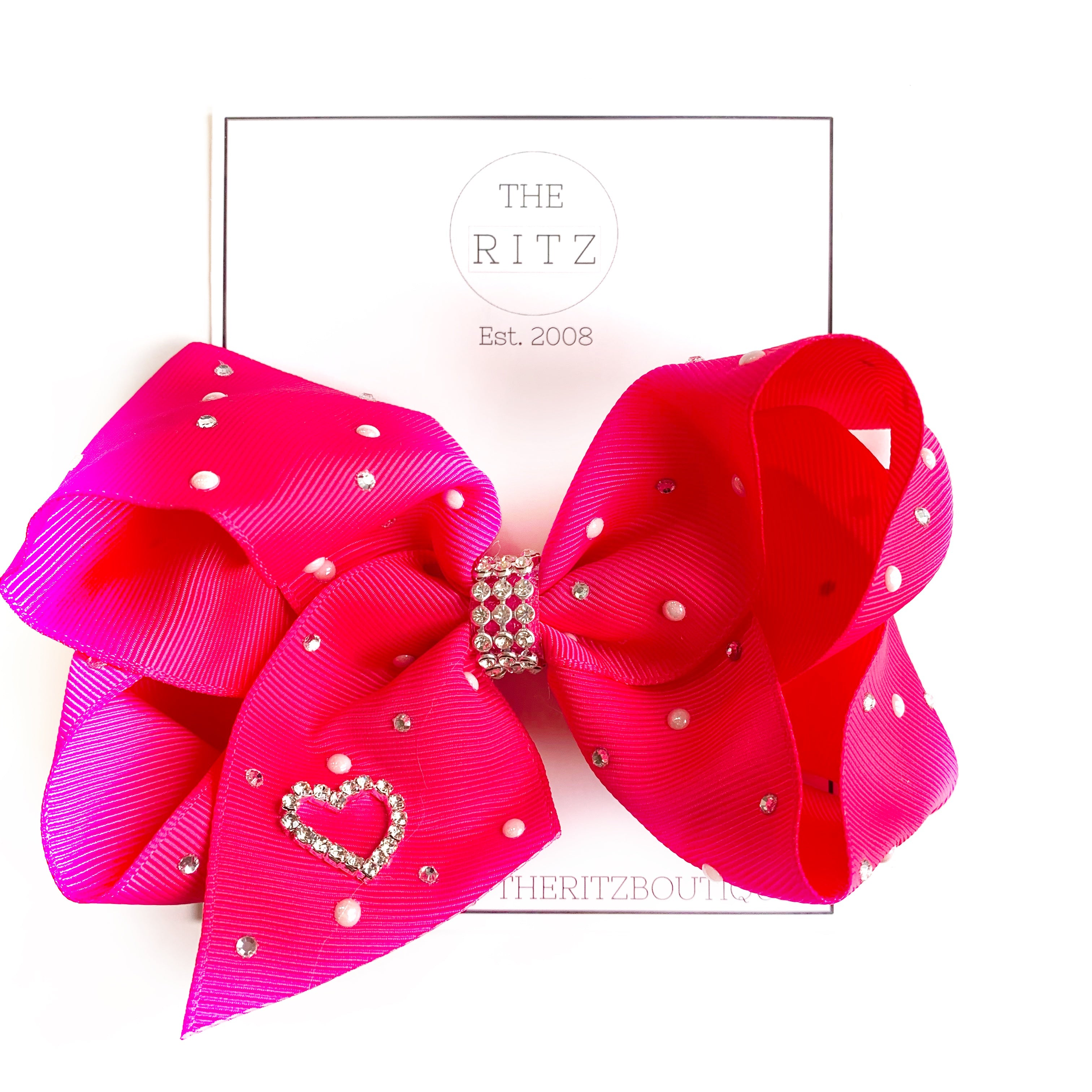 Hot Pink Jewel and Pearl Biggie Jersey Bow Clip
