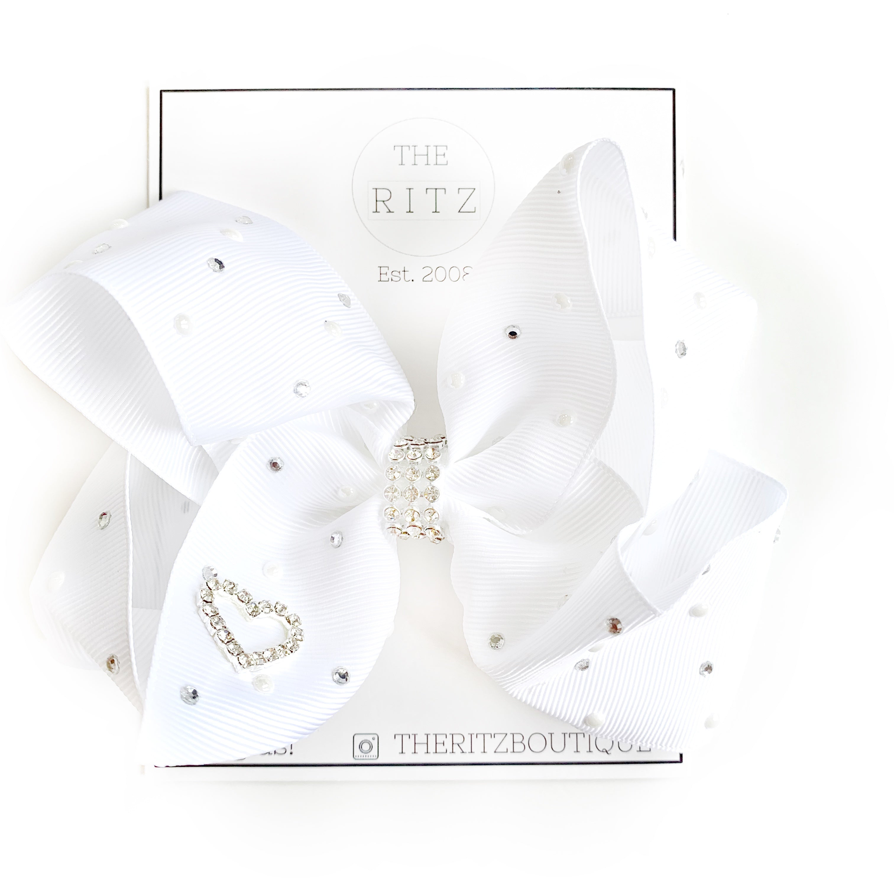 White Jewel and Pearl Biggie Jersey Bow Clip