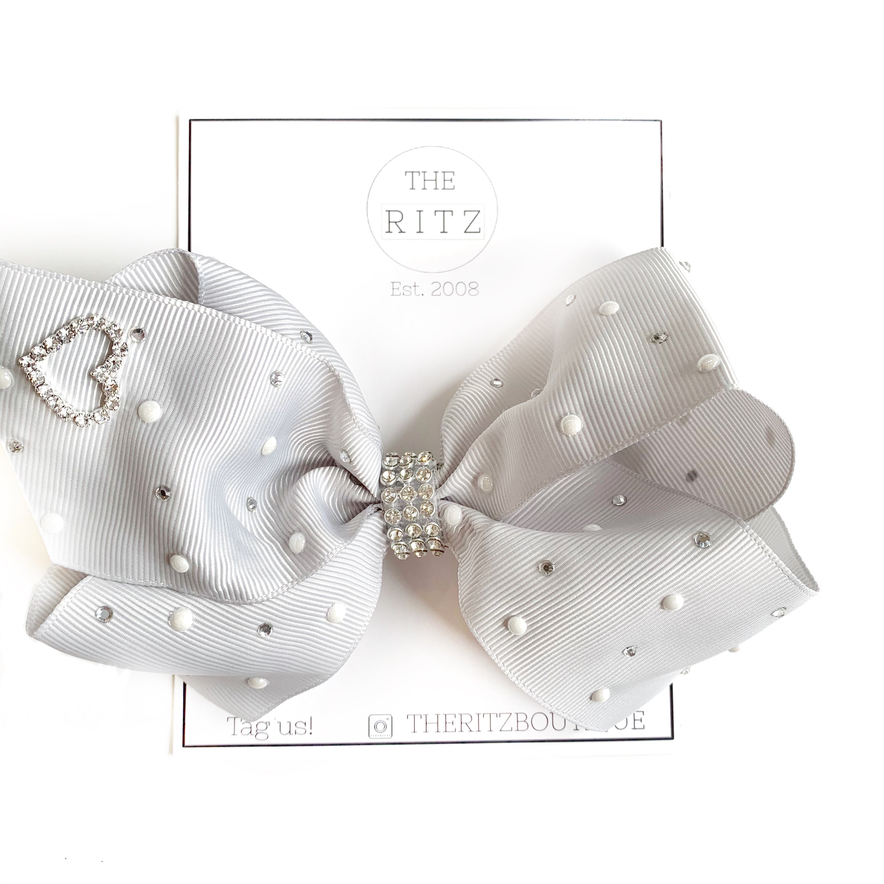 Light Grey Jewel and Pearl Biggie Jersey Bow Clip