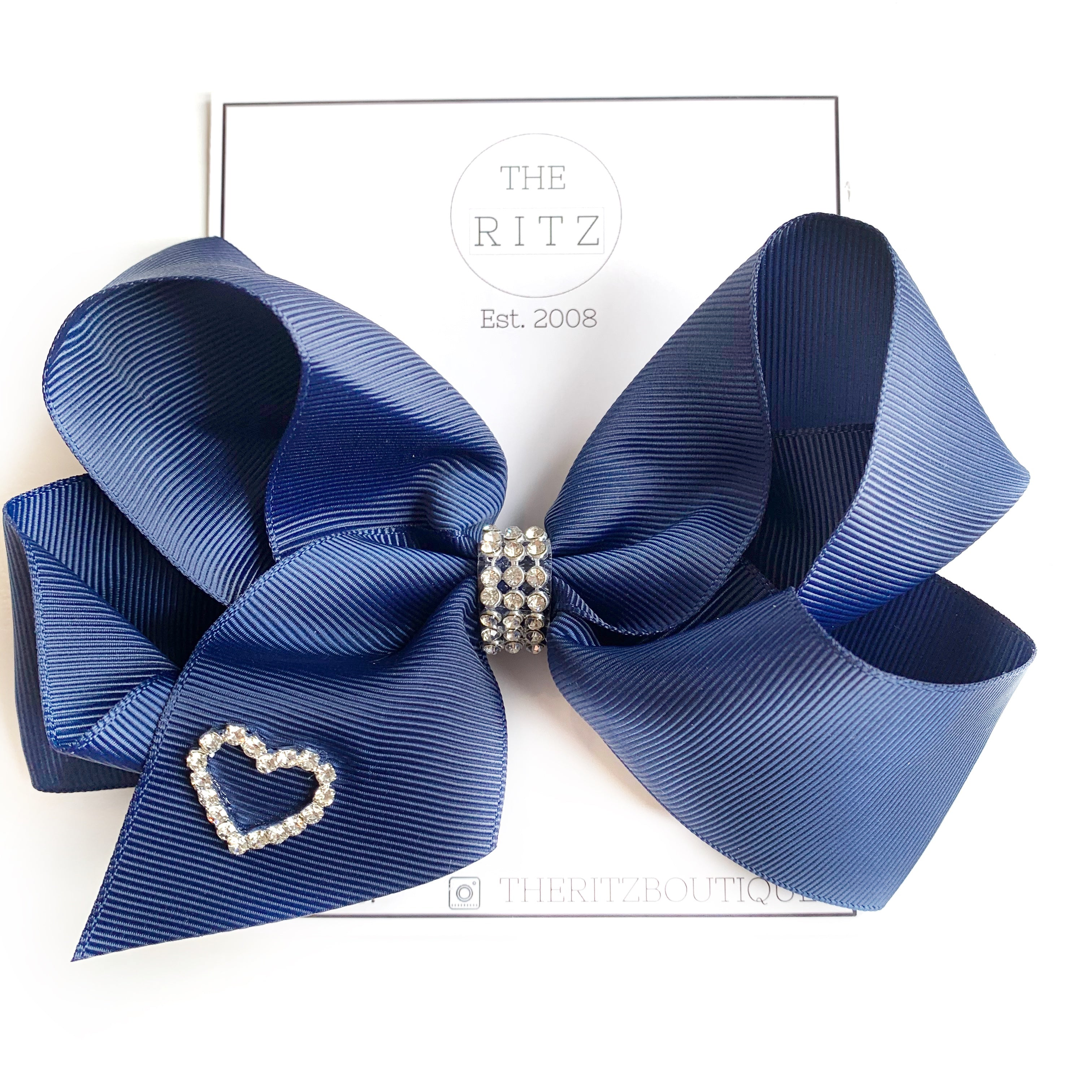 Navy Biggie Jersey Bow Clip