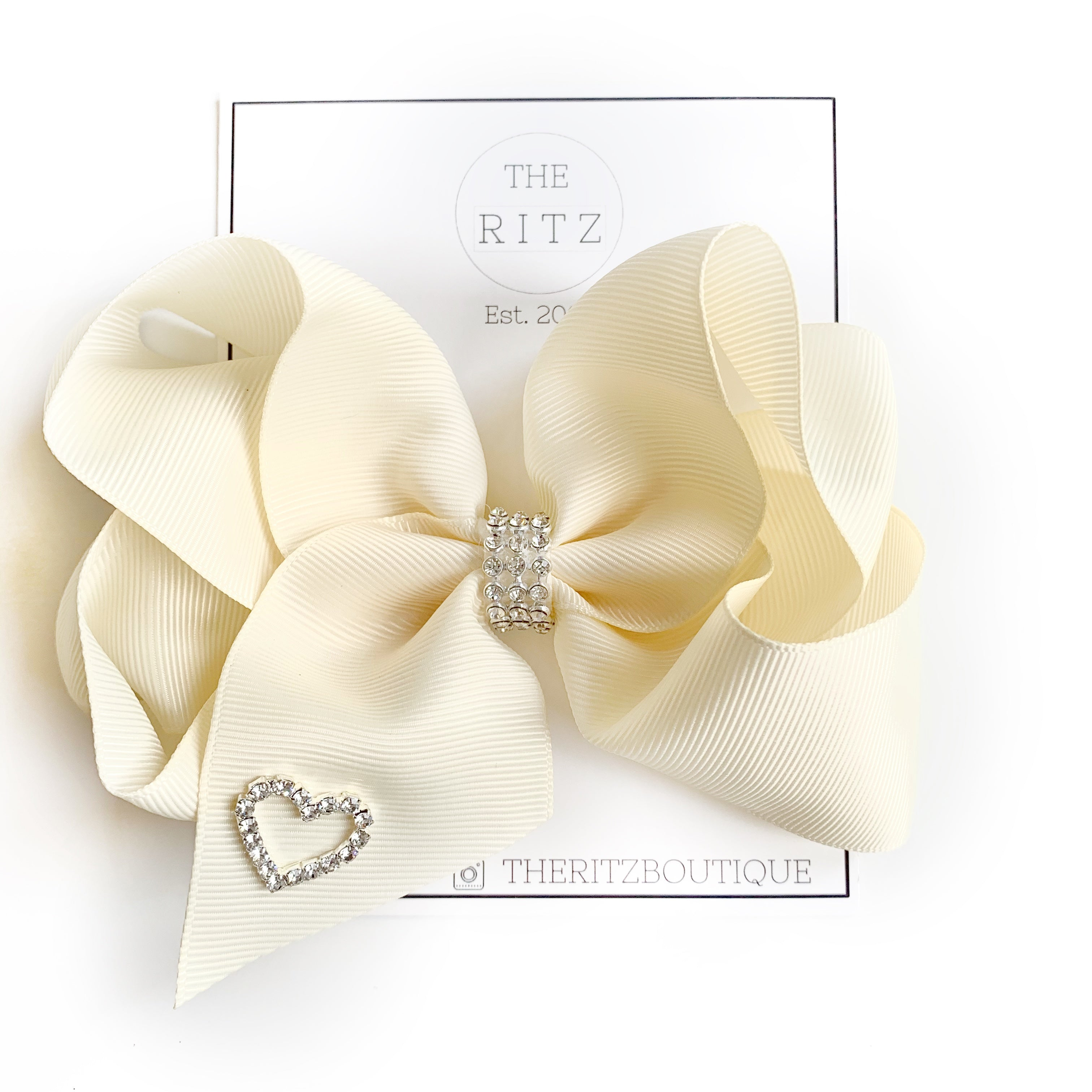 Ivory Biggie Jersey Bow Clip