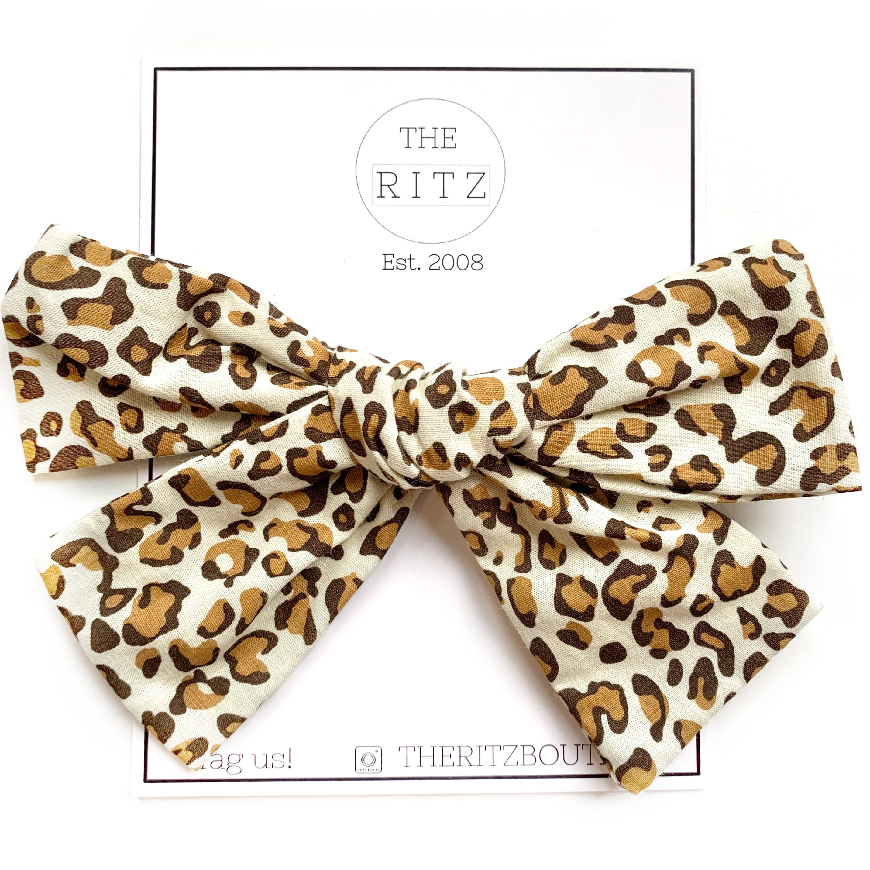 Leopard Biggie Swiss Cross Cotton Bow Clip