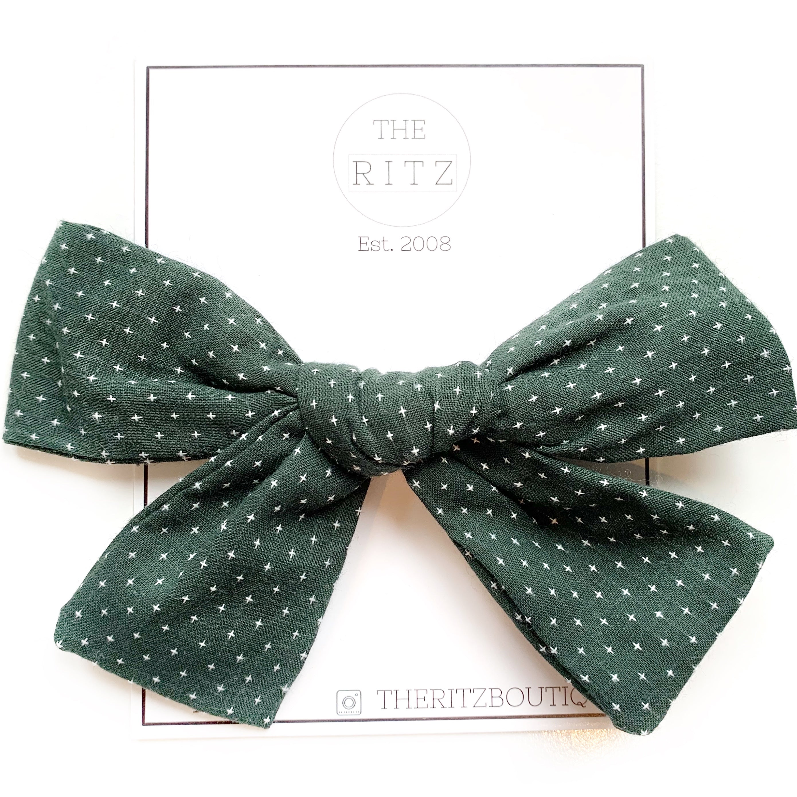 Emerald Biggie Swiss Cross Linen Bow Clip