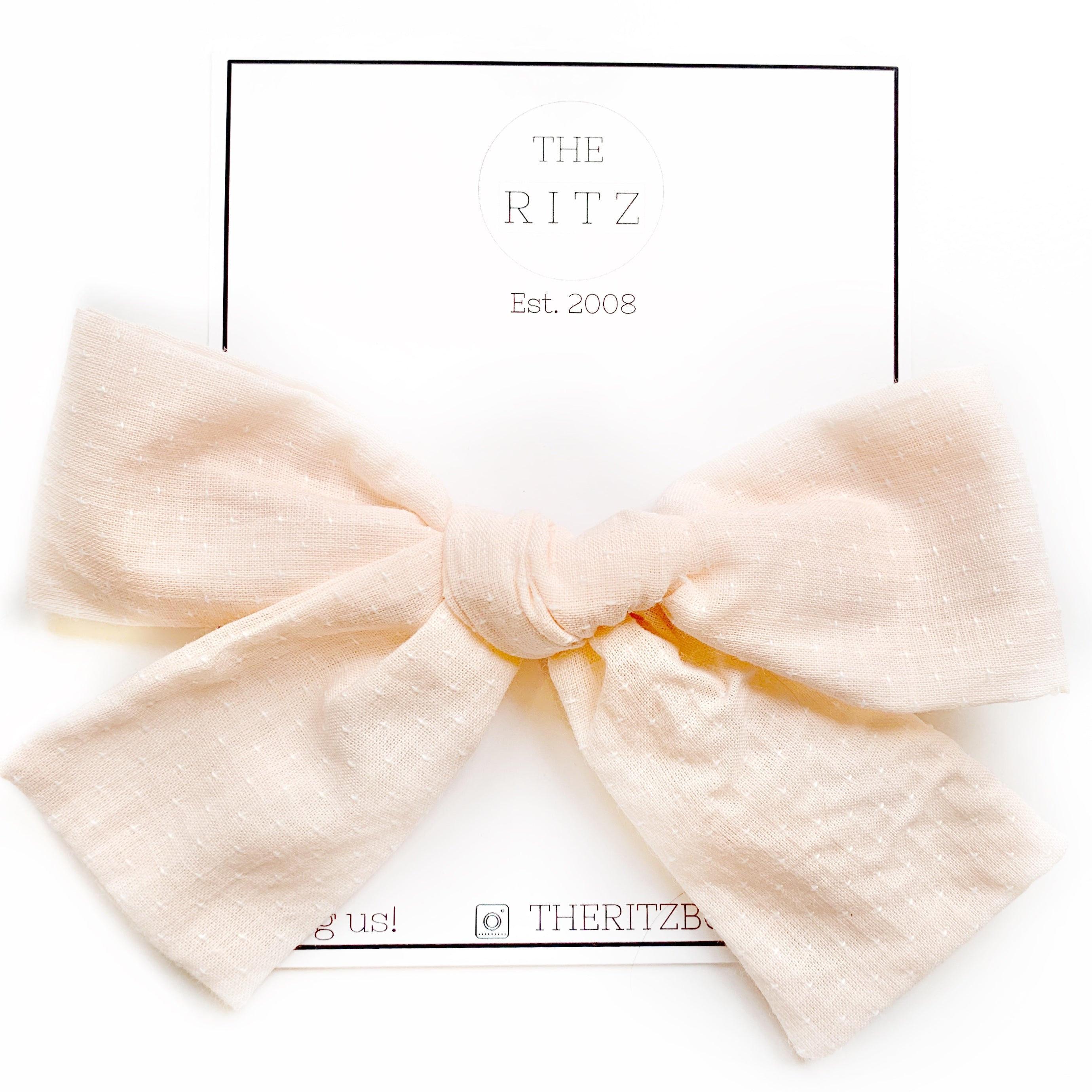 Pale Peach Biggie Swiss Cross Linen Bow Clip