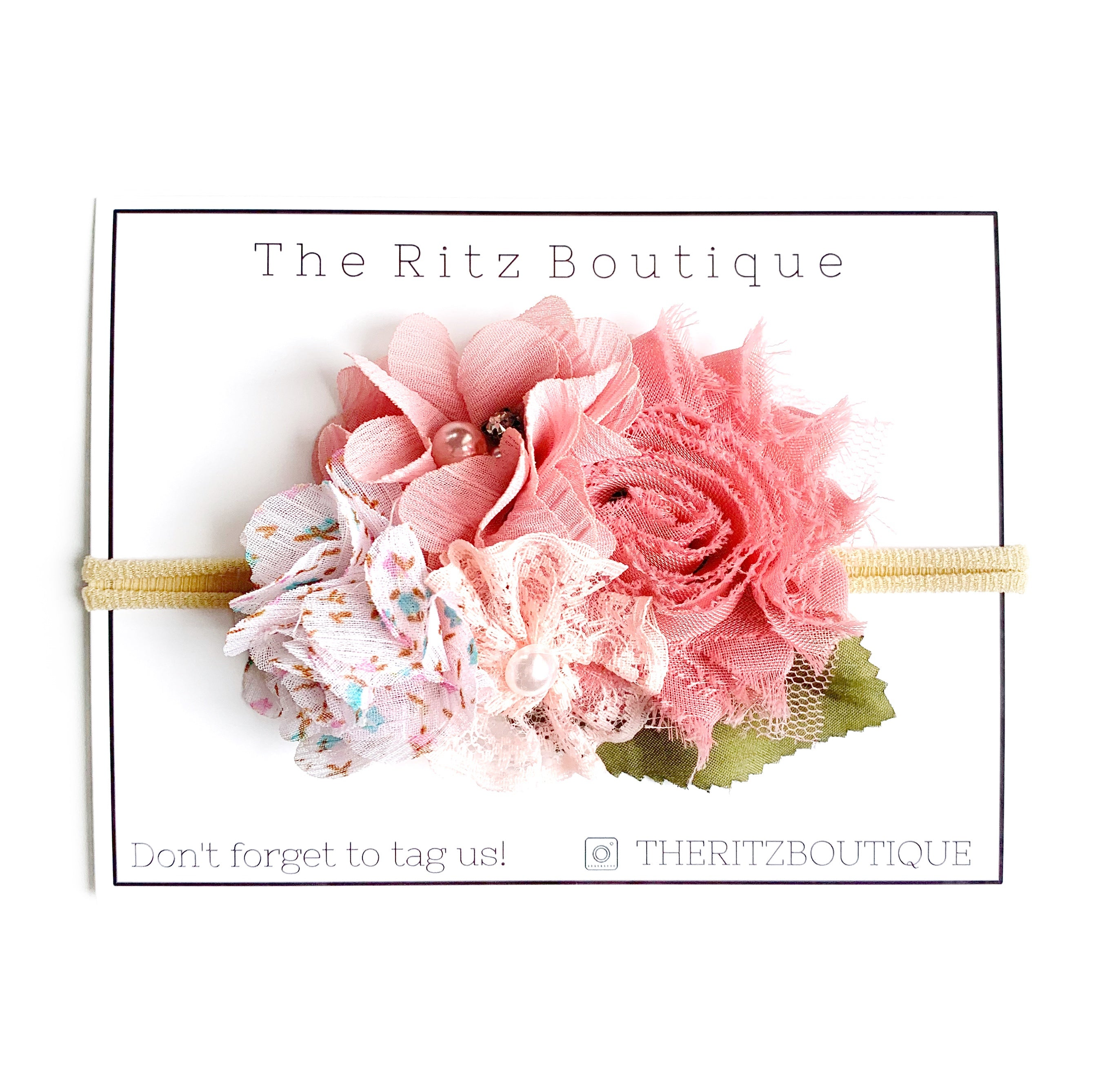 Shabby Pinks Floral Nylon Headband no.17
