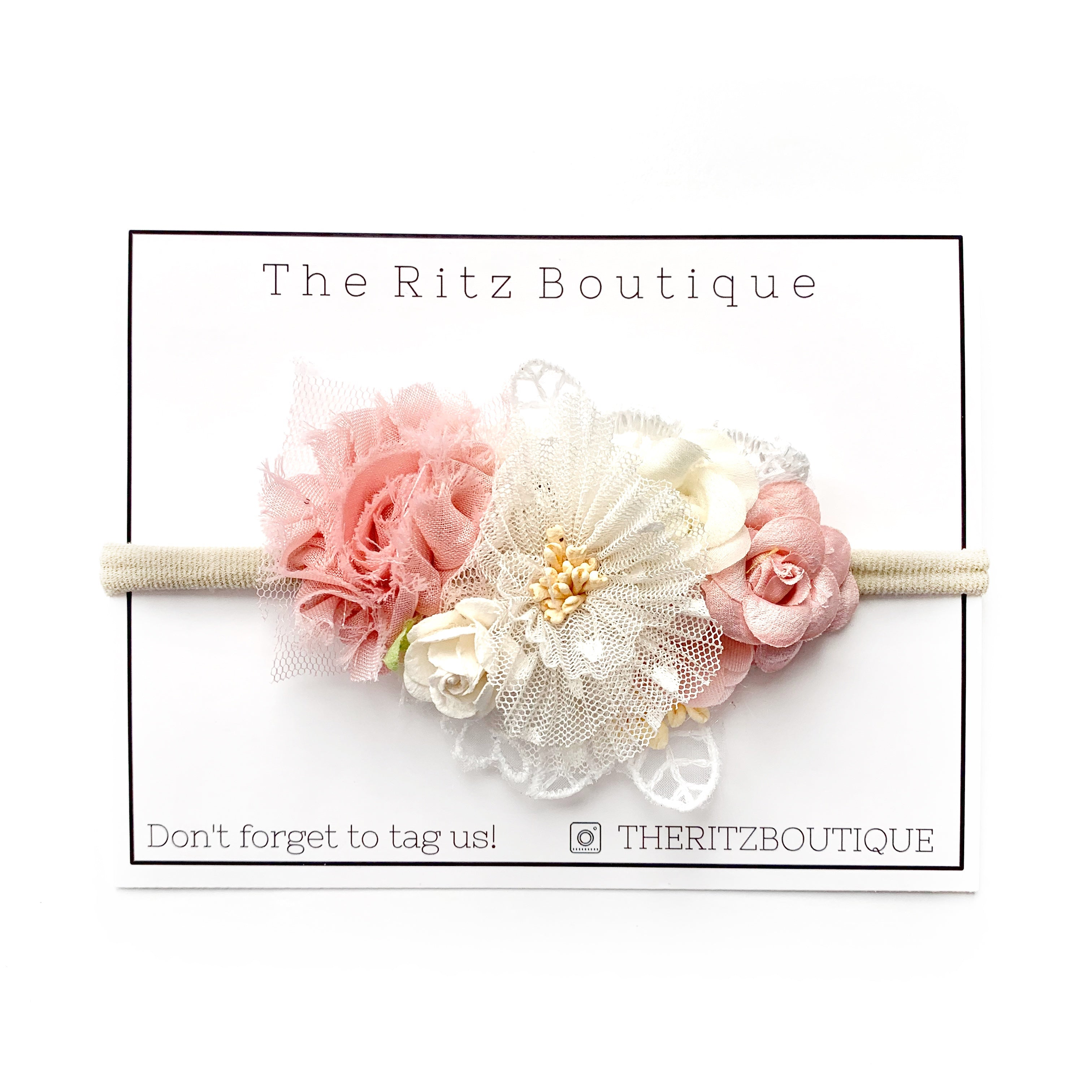 Off White Chiffon laced Rose Floral Nylon Headband