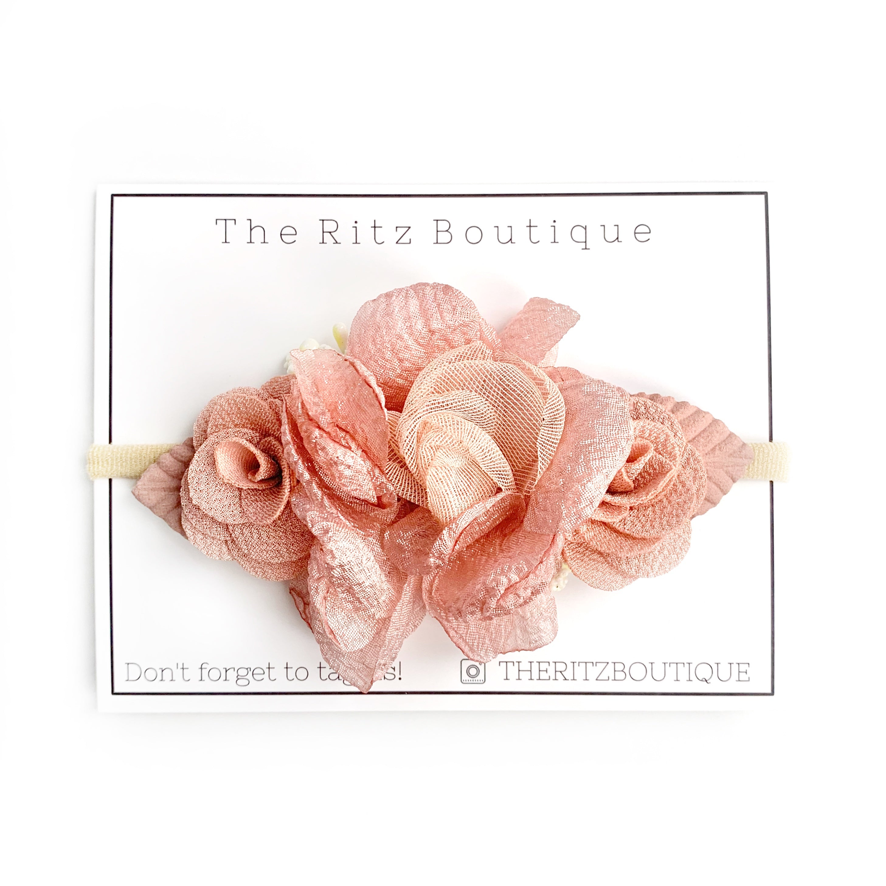Rose Gold Floral Nylon Headband