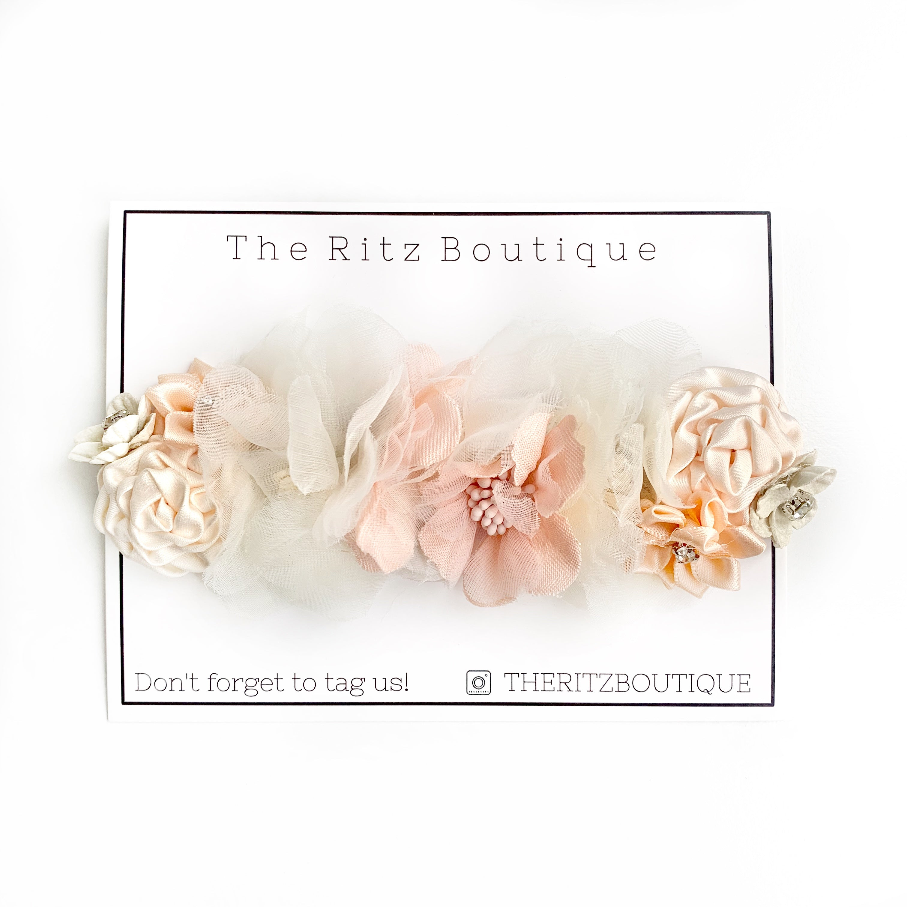 Peachy Cream Floral Nylon Headband