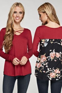 Burgundy Criss-Cross top with floral back