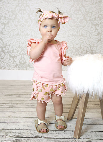 Peach & Gold Dot Pom Pom Outfit Set