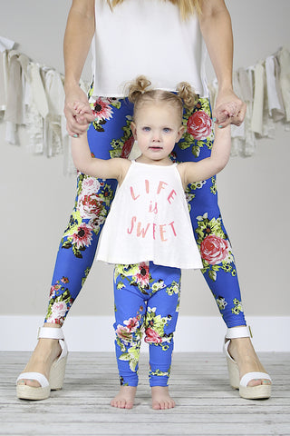Blue Floral Print Mommy and Me leggings