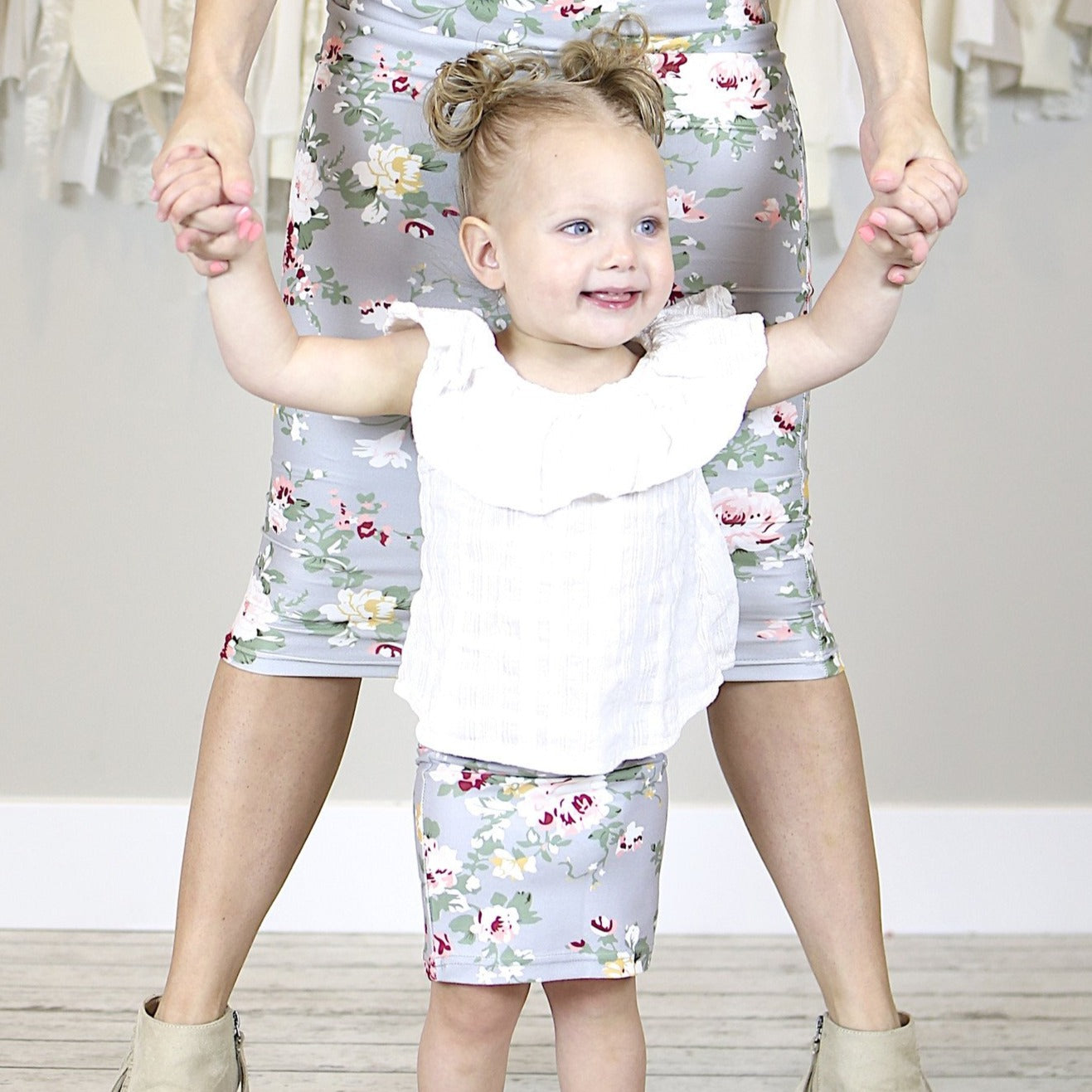 Grey Floral Mommy and Me Pencil Skirts