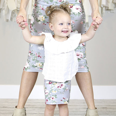 NEW Grey Floral Mommy and Me Pencil Skirts
