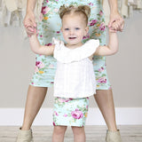 Mint Floral Mommy and Me Pencil Skirts