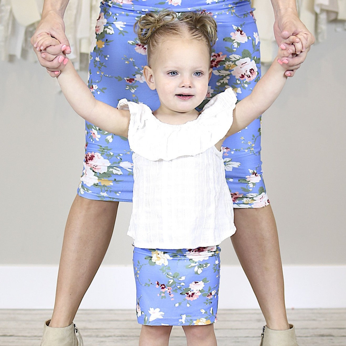 Blue Floral Mommy and Me Pencil Skirts