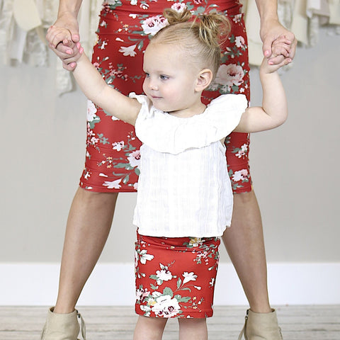 NEW Red Floral Mommy and Me Pencil Skirts