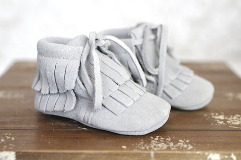 Grey Tie Fringe Moccasin Boot