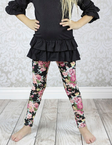 CLEARANCE- FINAL SALE  Black Rose Floral Leggings