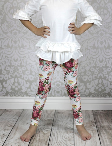 CLEARANCE - FINAL SALE   White Rose Floral Leggings
