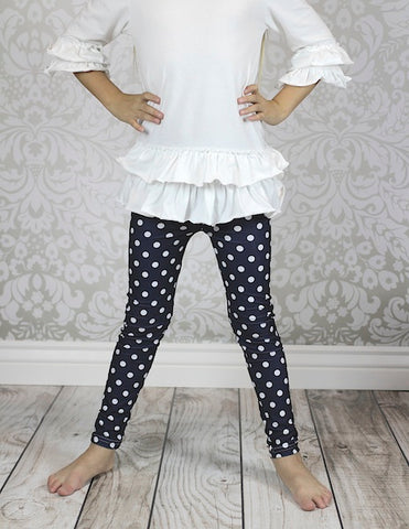 CLEARANCE-FINAL SALE  Black Polka Dot Leggings