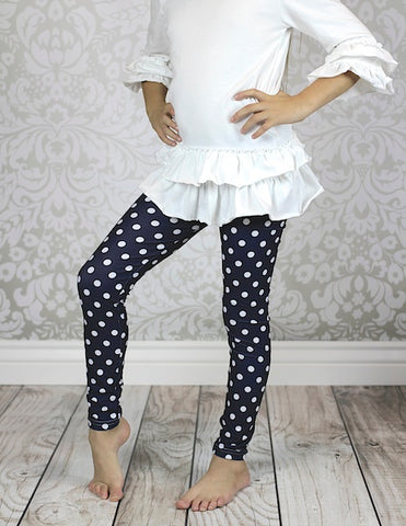 CLEARANCE- FINAL SALE  Navy Polka Dot Leggings