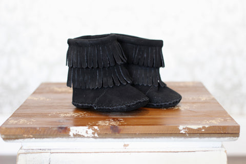 Black 2 Tier Velcro Back Moccasin Boot