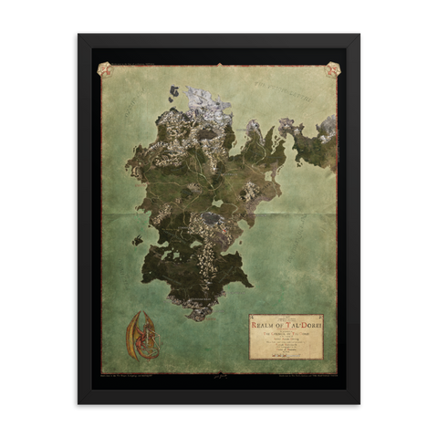 Realm of Tal'Dorei Framed Poster Map, Black Background
