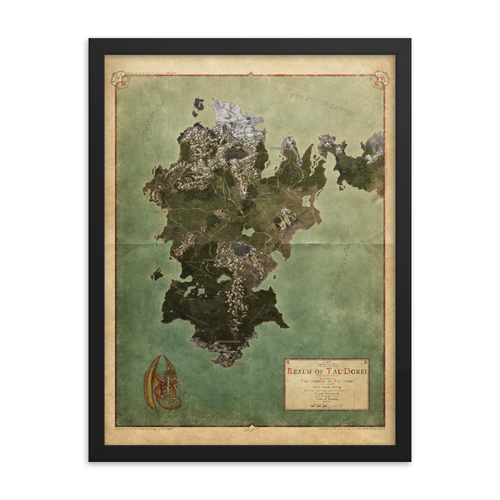 Realm of Tal'Dorei Framed Poster Map, Parchment Background