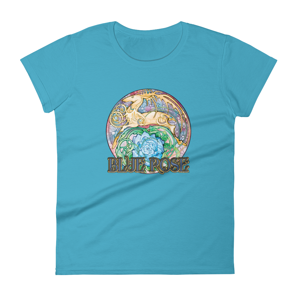 Blue Rose Hart Crest Ladies' Cut Caribbean Blue Short-Sleeved T-Shirt