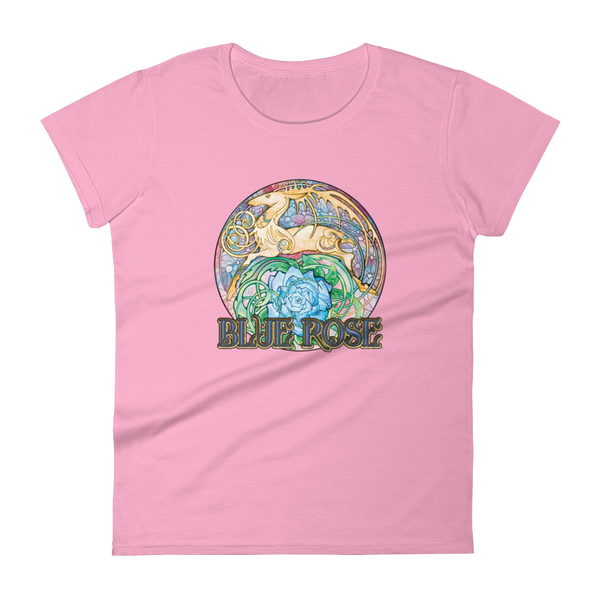 Blue Rose Hart Crest Ladies' Cut Charity Pink Short-Sleeved T-Shirt