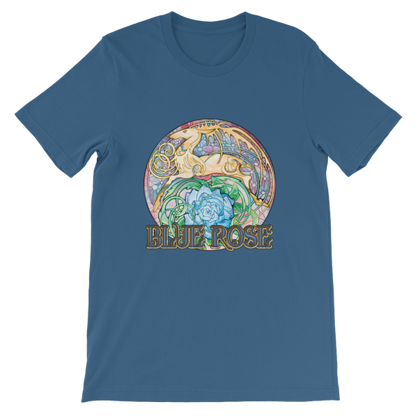 Steel blue, short-sleeved t-shirt with circular Blue Rose golden hart image