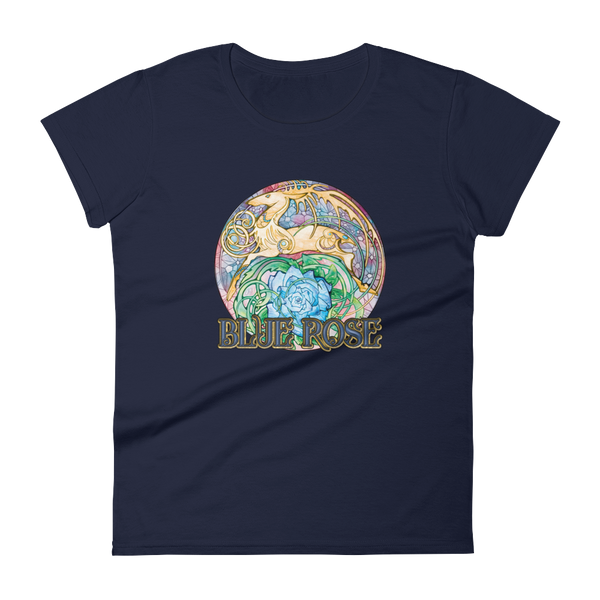 Blue Rose Hart Crest Ladies' Cut Navy Short-Sleeved T-Shirt