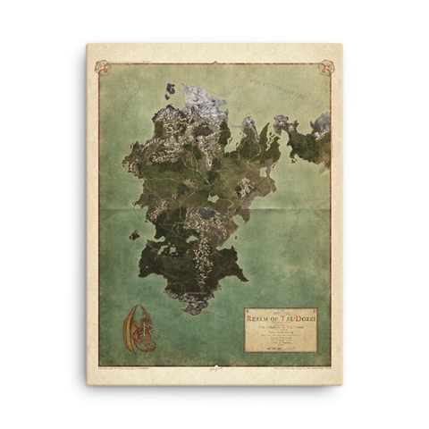 Realm of Tal'Dorei Canvas-Printed Poster Map, Parchment Background