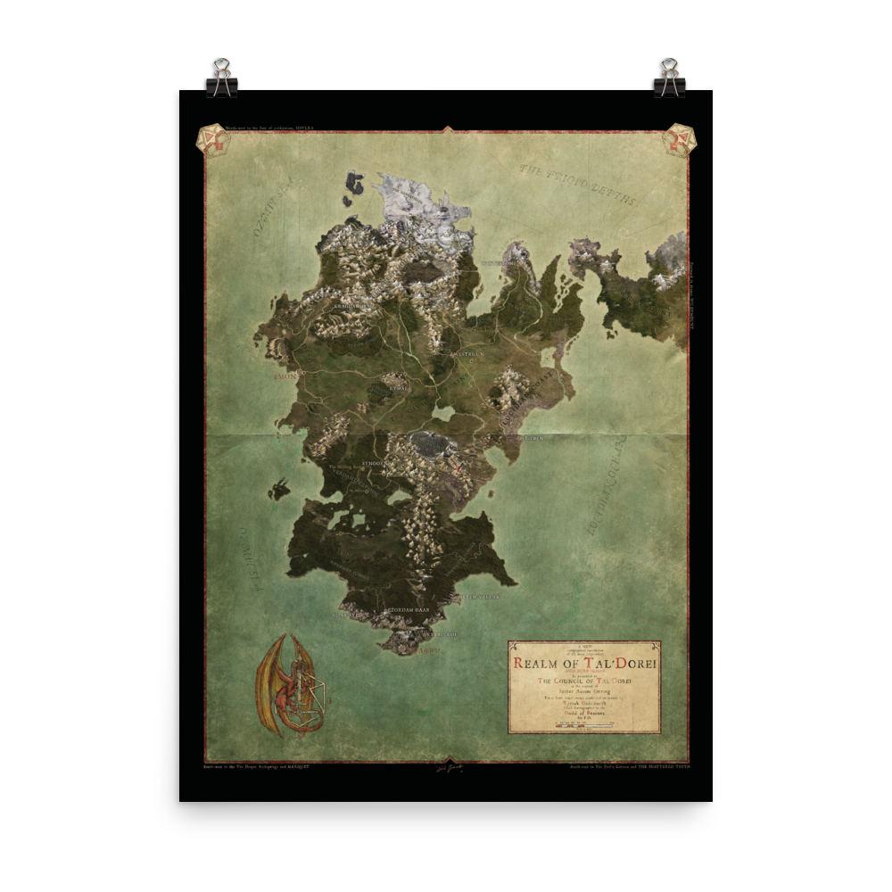 Realm of Tal'Dorei Rolled Poster Map, Black Background