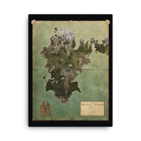 Realm of Tal'Dorei Canvas-Printed Poster Map, Black Background