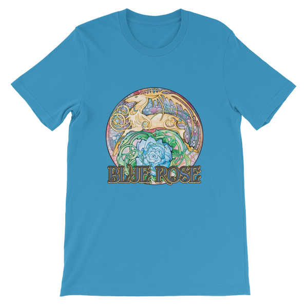 Blue Rose Hart Crest Unisex Short Sleeved T-shirt