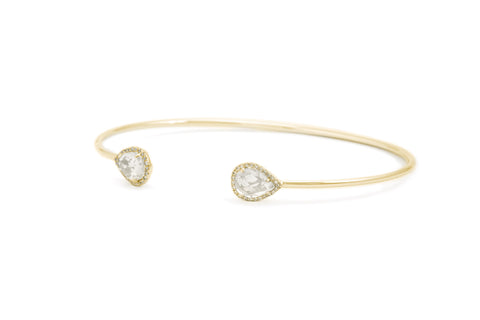 Chole WhiteTopaz & Diamond Cuff Bangle Bracelet