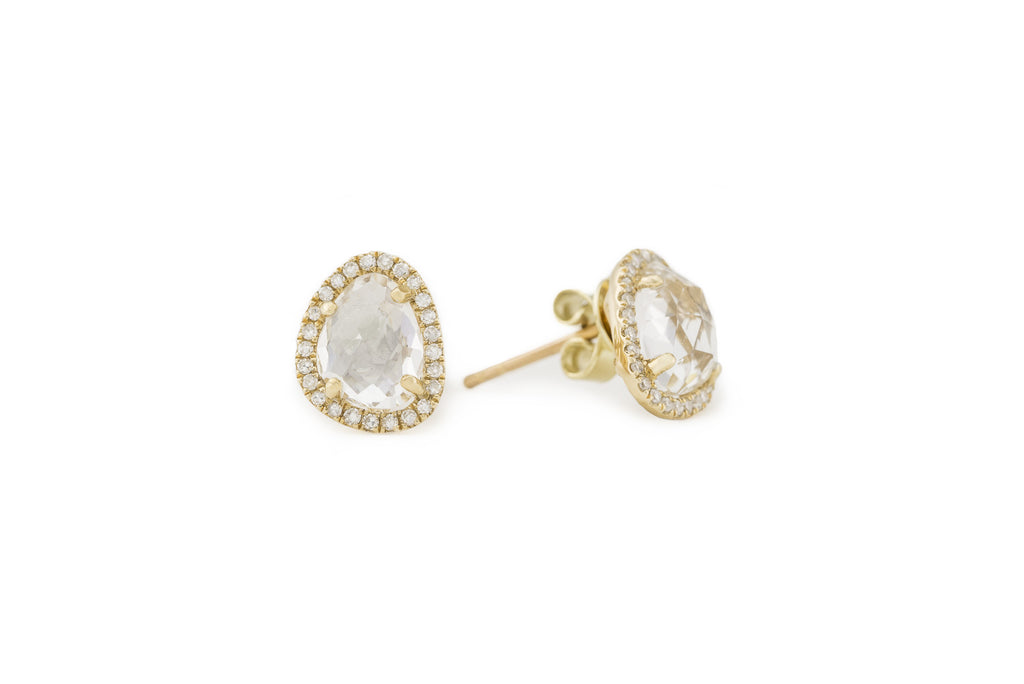 Mari Yellow Gold White Topaz Studs