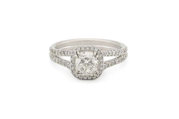 Cushion Diamond Split Shank Engagement Ring