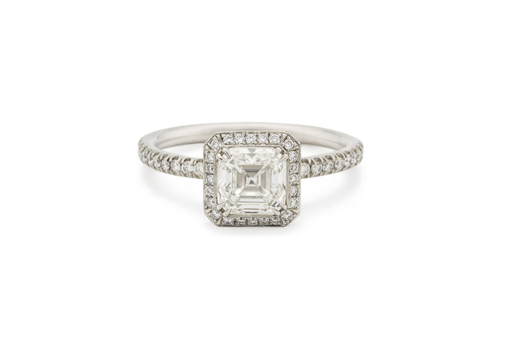 diamond platinum carat engagement emerald cut f gia ring