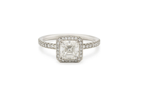Square Emerald Cut Diamond Infinity Edge Engagement Ring