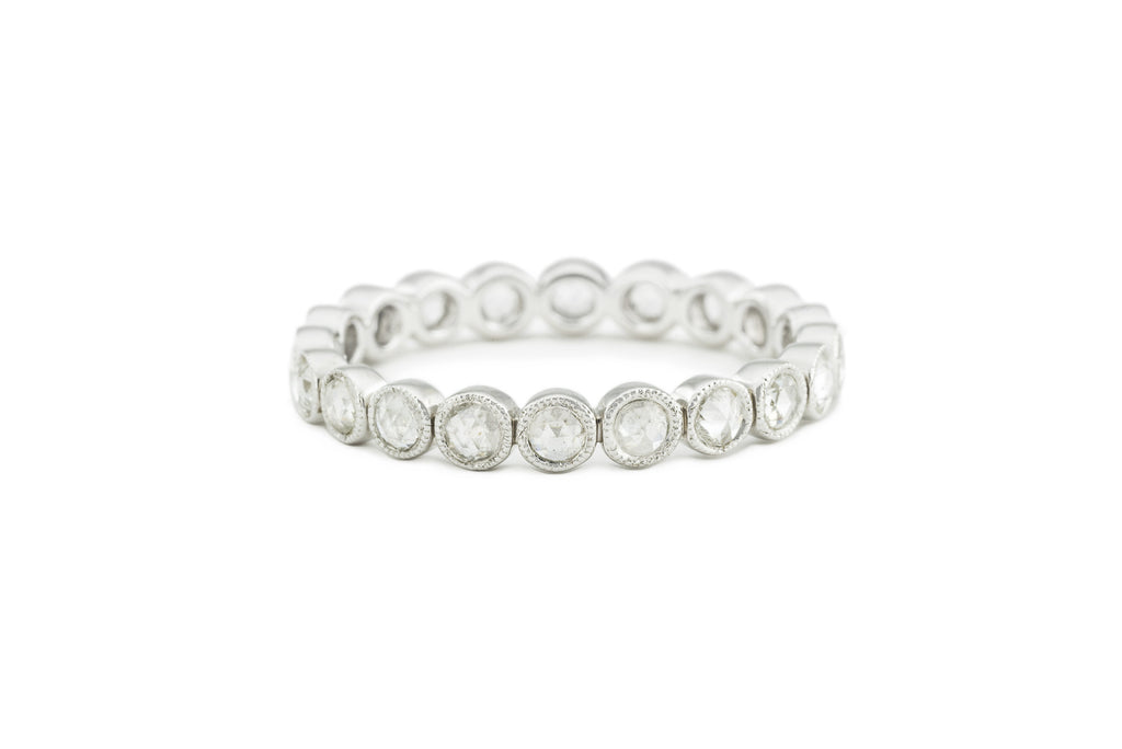 Paula Rose Cut Diamond Eternity Band White Gold