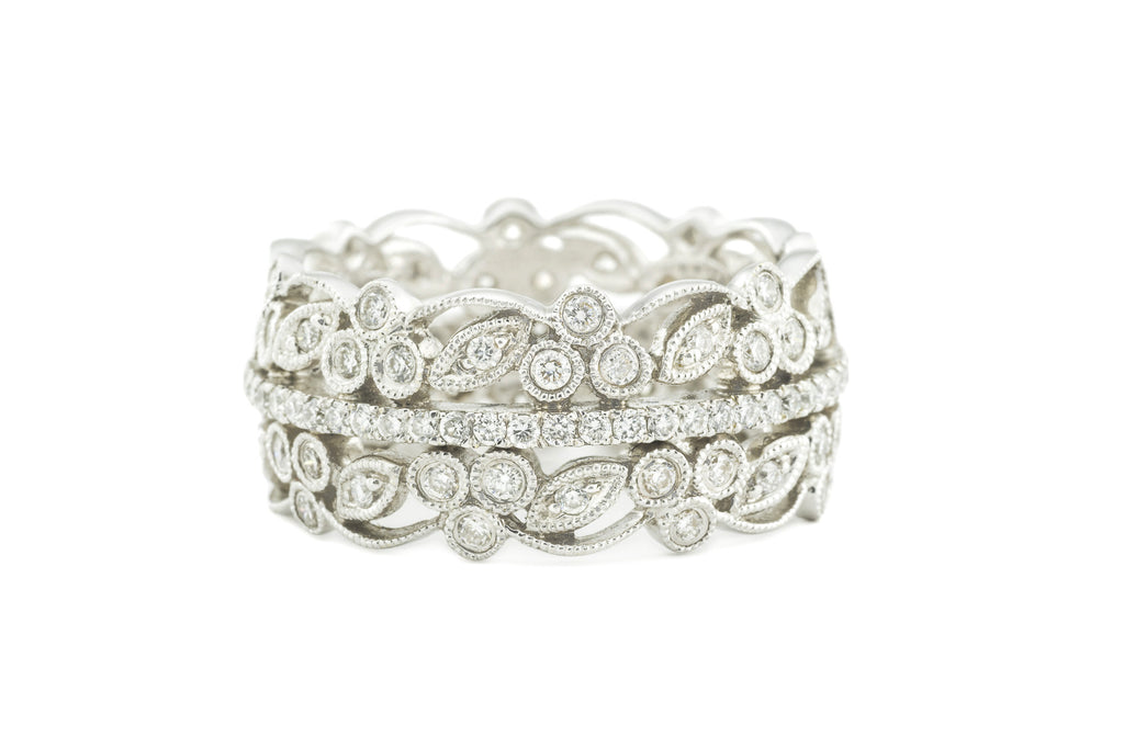 Leaf and Berry Stack Eternity Band